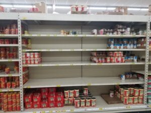 A run on the canned pasta aisle